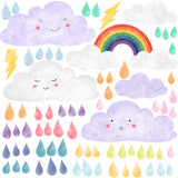 Clouds, Raindrops and Rainbow Wall Stickers