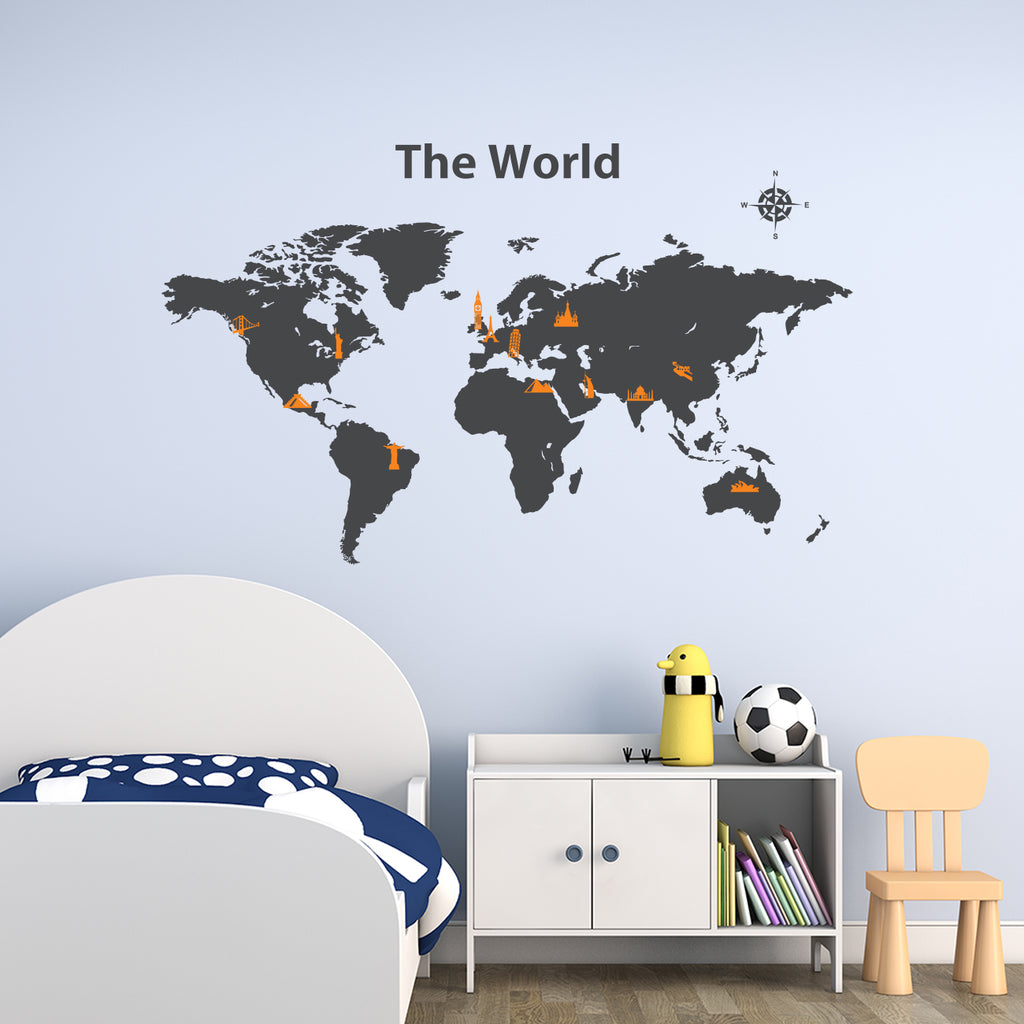 World Map with Landmarks Graphic Wall Stickers - Charcoal + Orannge