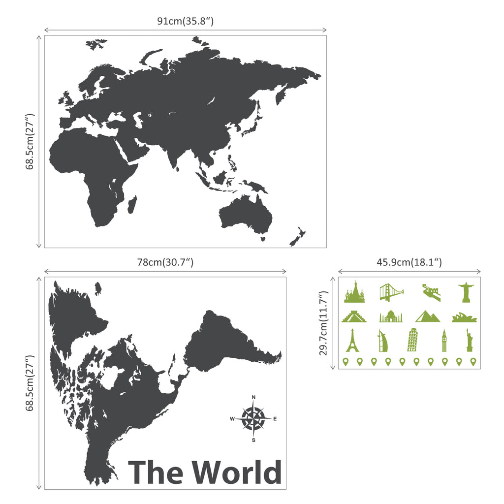 World Map with Landmarks Graphic Wall Stickers - Charcoal + Olive Green