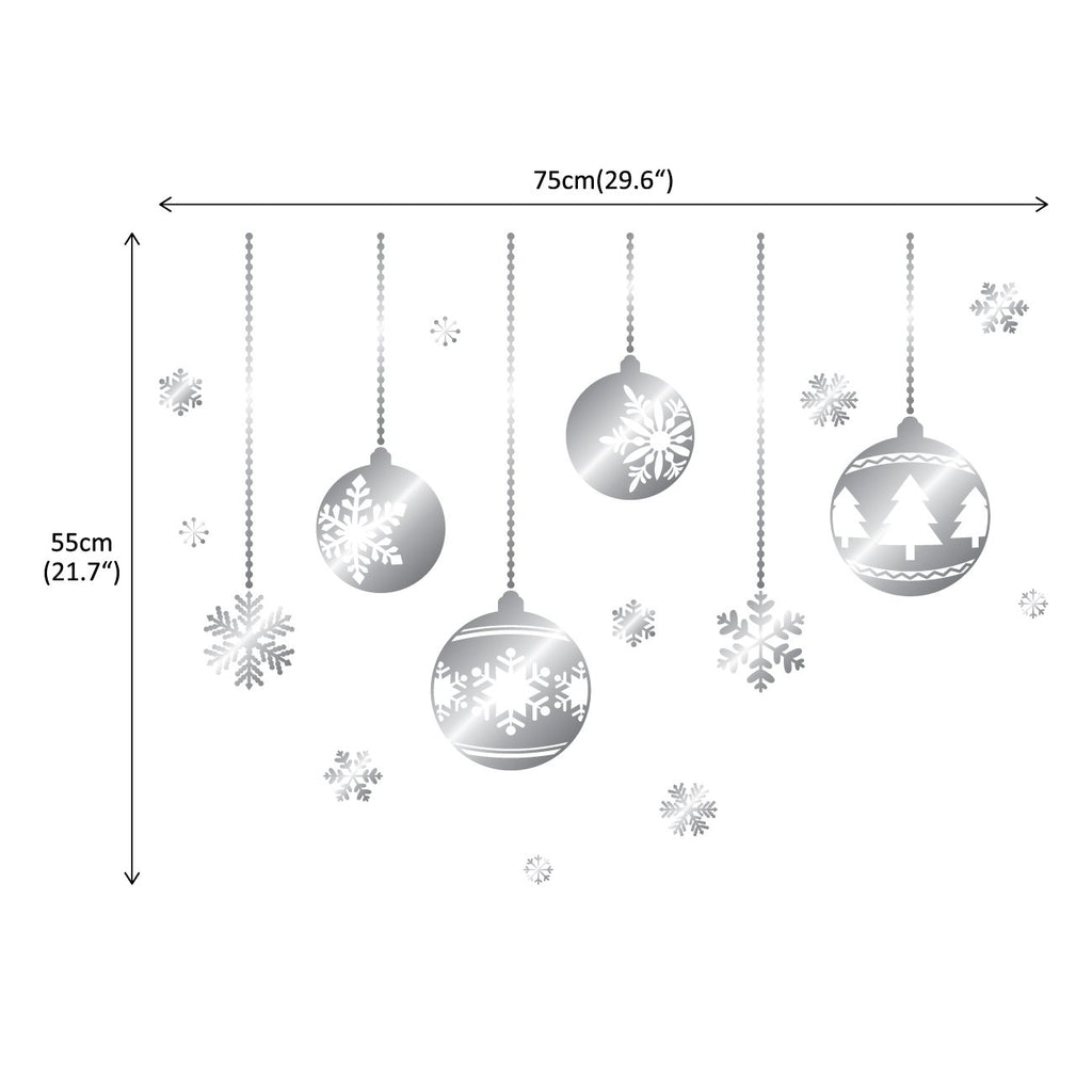 4 Christmas Balls and Snowflakes Graphic Stickers_Silver - DECOWALL