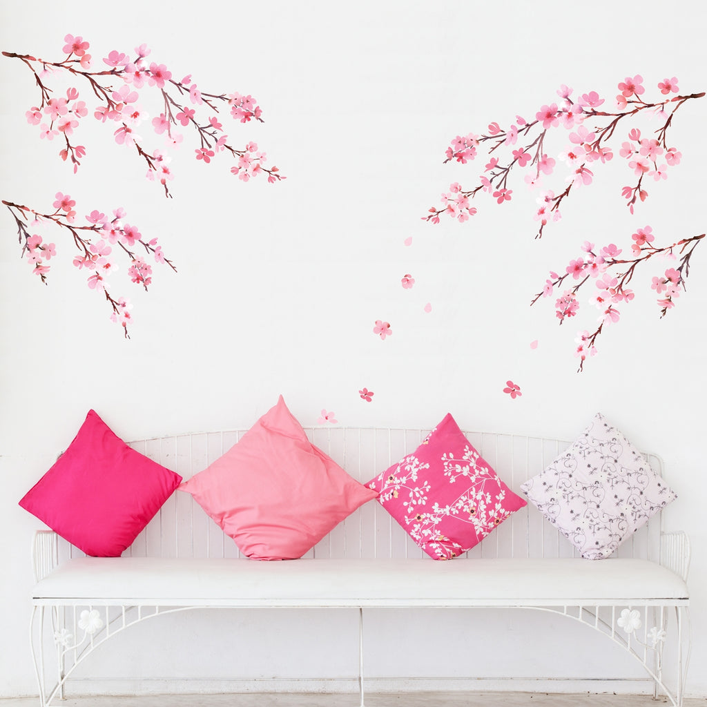 Watercolor Cherry Blossoms Wall Stickers
