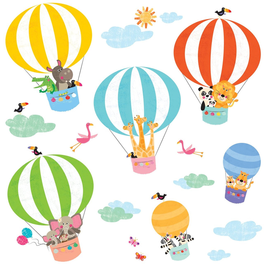 Animals in Hot Air Balloons Wall Stickers - DECOWALL