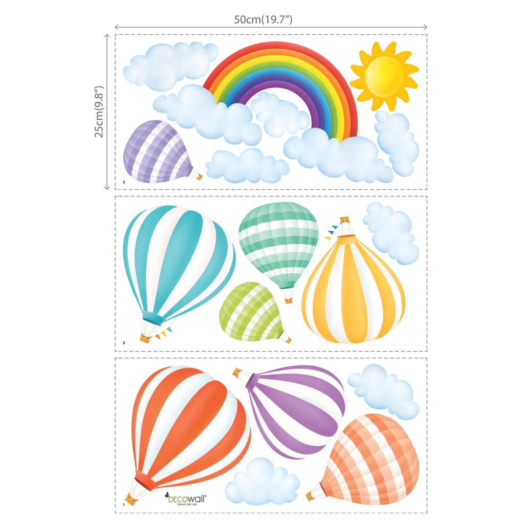 Rainbow and Hot Air Balloons Wall Stickers