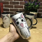 Hand Made 600ml Cute Ceramic Mug With Free Lid , Spoon And Straw Nice Gifts