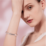 LOVE YOU FOREVER Engraved Rose Gold Bracelet Bangle with Crystal from Swarovski