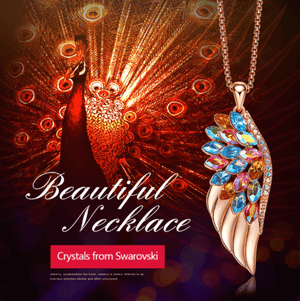 Rose Gold Phoenix Feather Necklace with Colorful Crystals from Swarovski