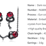 Black Rose Flower Necklace Earrings Set with Red Crystals from Swarovski