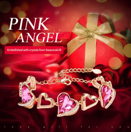 Rose Gold Bracelets Embellished With Pink Crystals from Swarovski Heart Angel