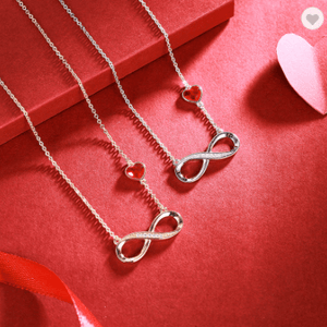 CDE Rose Gold Color Infinity Necklace with Red Crystal from Swarovski