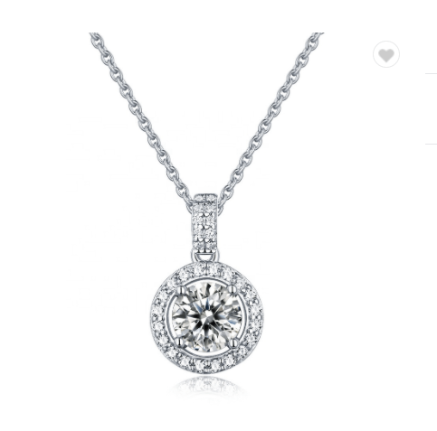 Sterling Silver 925 Real Moissanite Diamond  Pendant Necklace Women