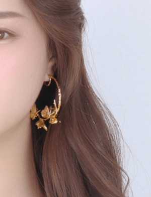 18K Gold Plated  55mm Oversized Round Circle Hoop Earrings 3D Gold Butterfly Hoop Earrings