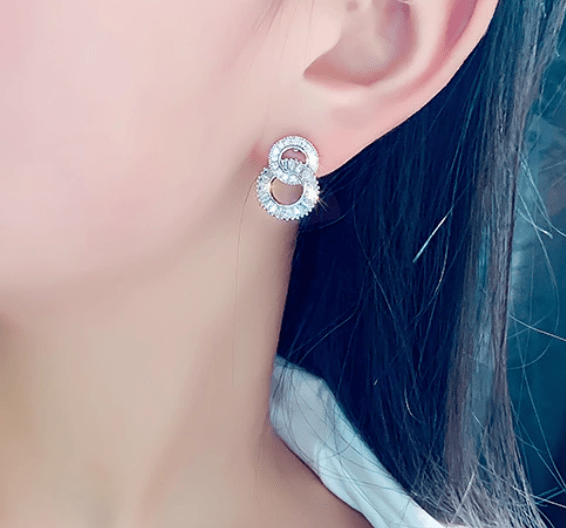 Silver Crystal Double Circle Studs Earring