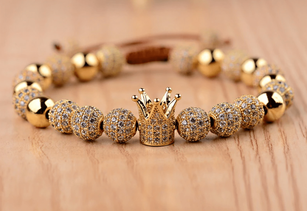 His And Her Double 8mm  Micro Pave CZ King And  Queen Crown Braided  Bracelet