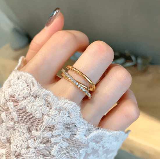 925 Sterling Silver Multilayer Cross Line  Gold Color Cubic Zircon Ring