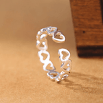 925 Sterling Silver Circle Of hearts Glossy Open Ring
