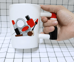 Beautiful Crafty Mugs with 3D Red Lipstick Handle