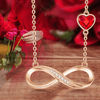Rose Gold Color Infinity Necklace with Red Crystal from Swarovski