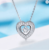 Heart Shape Dancing Zircon in Motion Sterling Silver Chain Necklace Pendant 18""