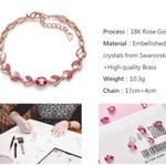 Rose Gold Bracelet  Embellished with Pink Crystals from Swarovski Adjustable Bracelet