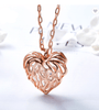 Hand Made Rose Gold Heart Filled with Crystal from Swarovski Sweater Necklace