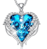 Silver Color Angel Wings Necklace Embellished with Blue Crystals from Swarovski