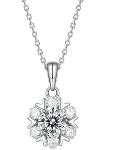 925 Sterling Silver Diamond Cluster Necklace