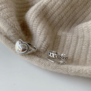 Lover's Heart Ring And Anchor Rope Rings 925 Sterling Silver Thai High Polish Ring