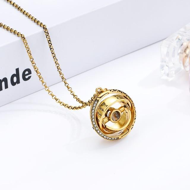 Openable Astronomical Ball Projection Necklace 100 Language I Love You Pendant Necklace for Women Men Choker Jewelry Gift
