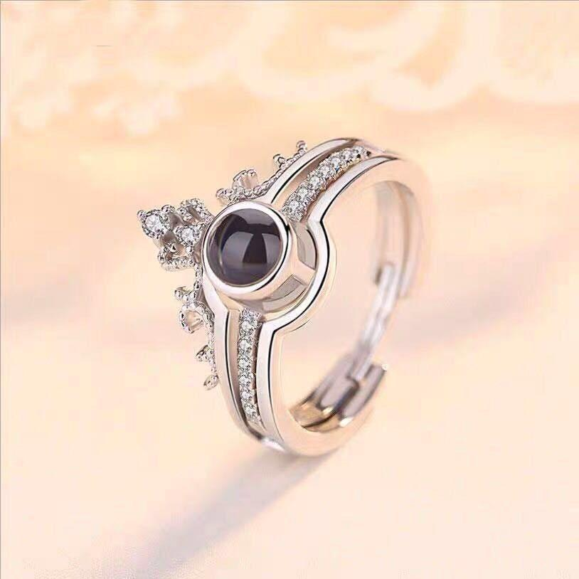 Trendy Cubic Zirconia Projection Love Ring -  Adjustable