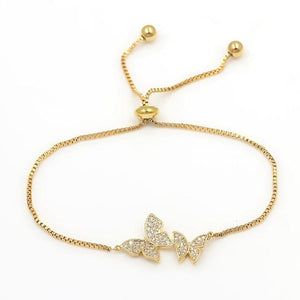 Tiny Trendy Cubic Zirconia Crystal Hot Butterfly Bracelet - Adjustable