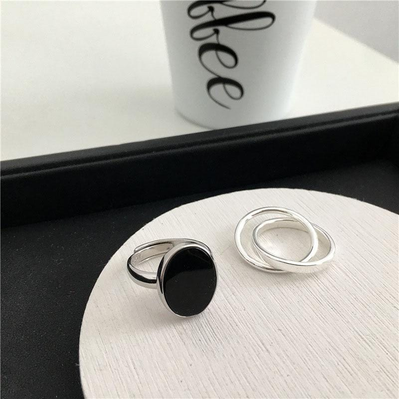 Fashion Black Dollop Glaze Oval  Silver Color Open Ring