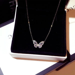 Shiny Crystal Butterfly Necklace