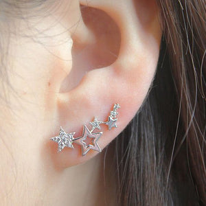 Galaxy Of Stars Earrings Shiny White Zircon Exquisite In silver And Gold Colors