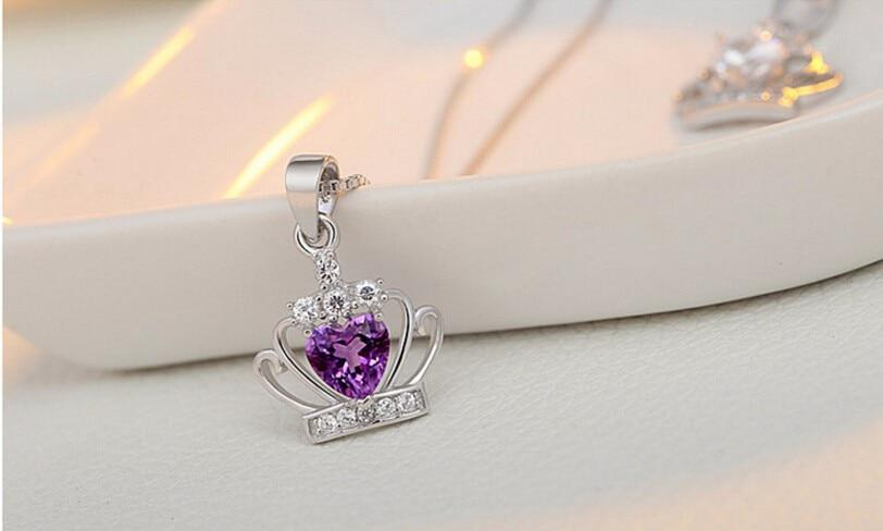 925 Sterling Silver Queen Crystal And Zircon Crown Pendant With Box Chain