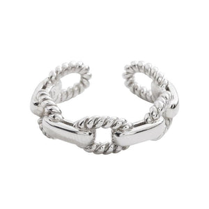 925 Sterling Silver Simple Link Chain Shaped  Adjustable Rings