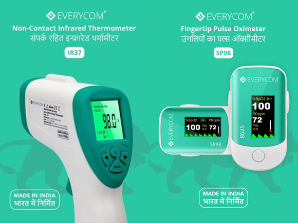 Everycom Combo Pack Non Contact Infrared Thermometer IR37 and Fingertip Pulse Oximeter SP98