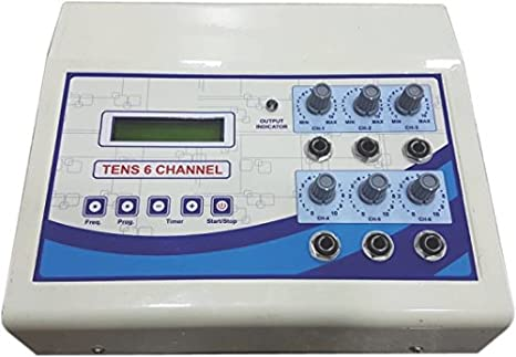 Biotronix Tens 6 Channel LCD Display Economical model with 6 Auto modes Digital Physiotherapy Pain Relief Electrotherapy Equipment make in India with 2 year warranty