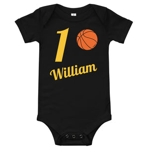 Personalize Age 'n' Name On A Basketball Boy Bodysuit