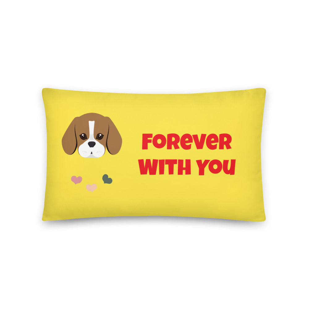 Forever With You Beagle Premium Pillow - Yellow