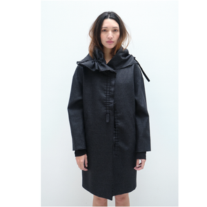 Open image in slideshow, Coat With Bow Collar