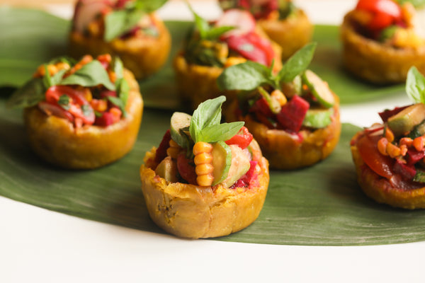 FRIED PLANTAIN CUPS WITH SHRIMP COCKTAIL