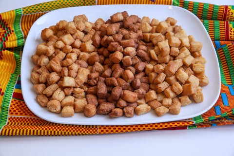Varieties of West African Fried Pastry Chin Chin in a Plate