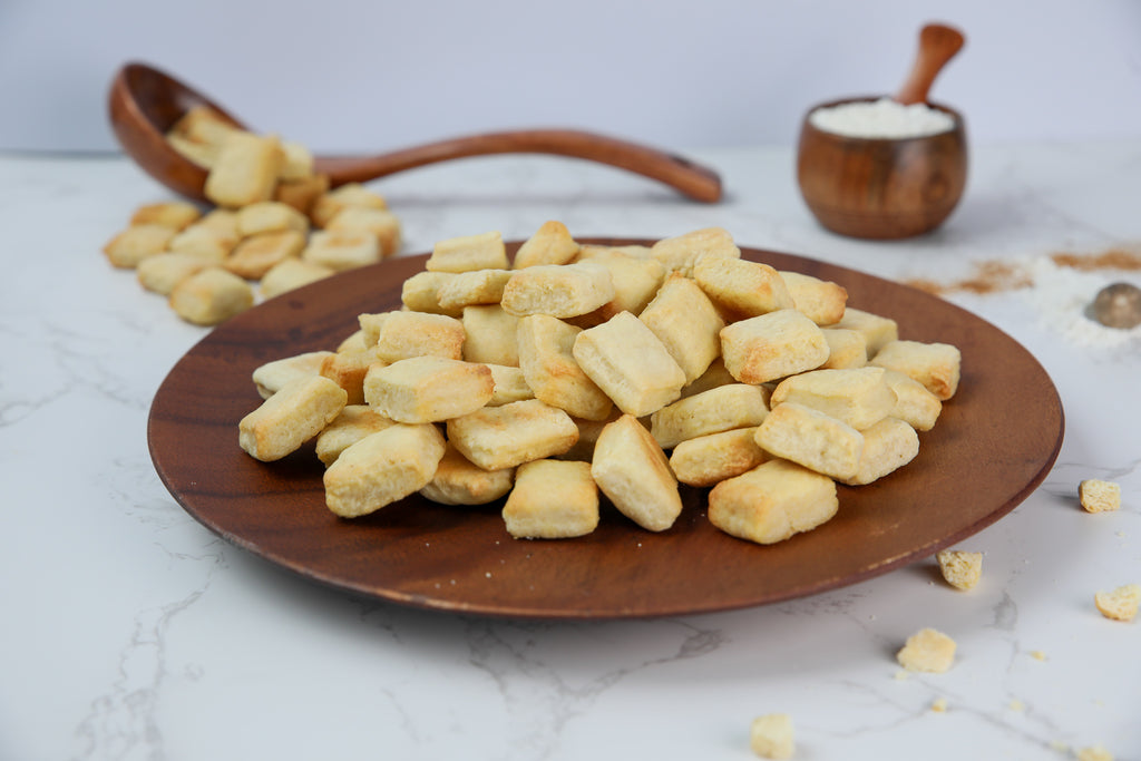 oven-baked soft chin chins on wooden plate