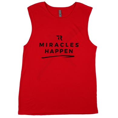 Miracles Happen Muscle Tank (Red)