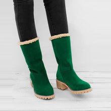 Load image into Gallery viewer, Plain Mid Heeled Velvet Round Toe Casual Mid Calf High Heels Boots