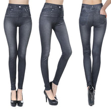 Load image into Gallery viewer, Autumn And Winter Seamless Denim Imitation Print Leggings