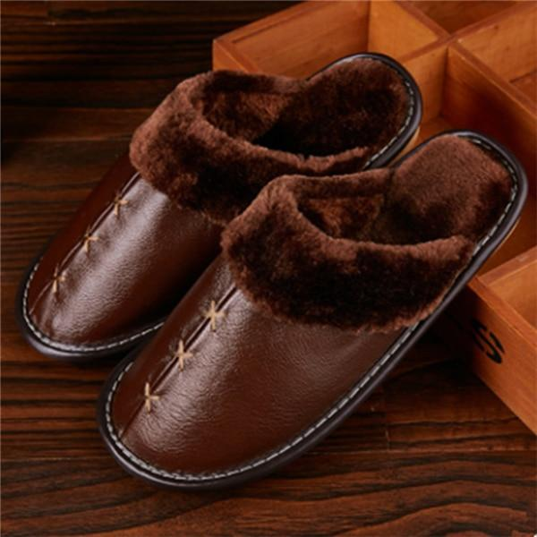 Warm Genuine Leather Slippers