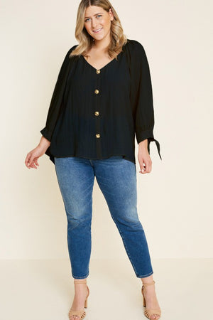 Button Down Tie-Sleeve Top - Plus