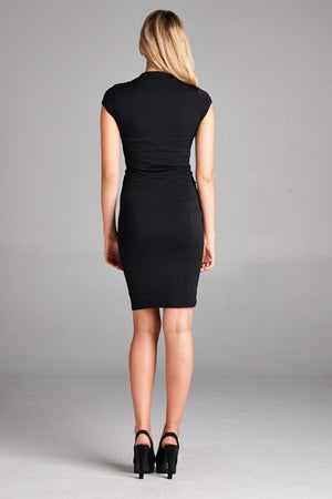 Crepe Mock Neck Dress
