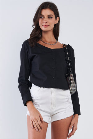 Off The Shoulder Button Down